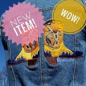 Jake Stuart VINTAGE Boots Embroidered Jeans Vest